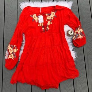 Free People floral embroidered long sleeve dress